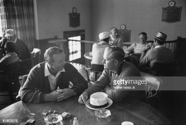 Golf US Open Arnold Palmer and Jack Nicklaus sitting at table at Laurel Valley CC Ligonier PA 7/1/19657/31/1965