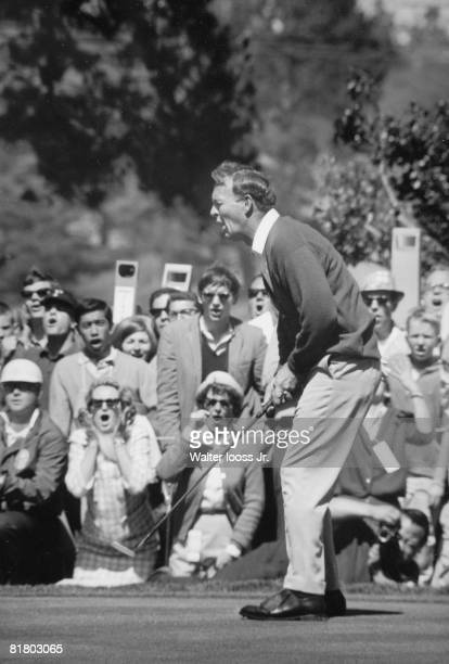 Golf US Open Arnold Palmer upset reacting during Sunday playoff vs Billy Casper at The Olympic Club View of fans Sequence San Francisco CA 6/19/1966