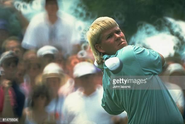 Golf US Open Closeup of John Daly in action drive on Friday at Baltusrol GC Springfield NJ 6/18/1993