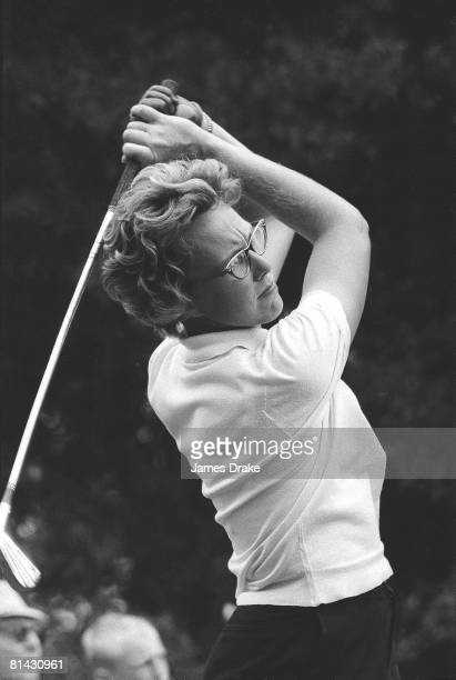 Golf US Open Closeup of Mickey Wright in action during drive at Dunes GC Myrtle Beach SC 6/28/1962