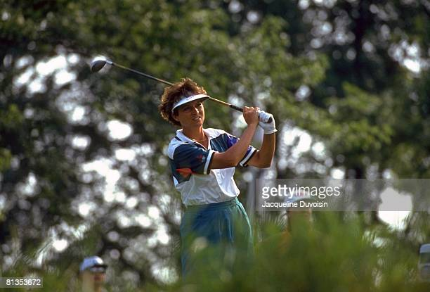 Golf US Open Closeup of Sherri Steinhauer in action drive on Sunday at Crooked Stick Carmel IN 7/25/1993