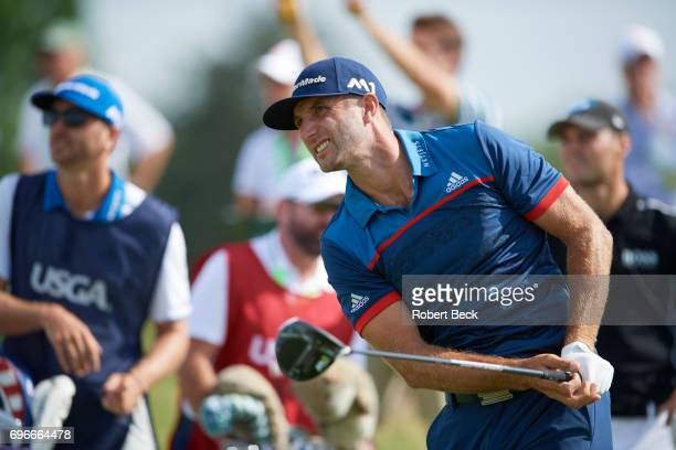Close-up view of Dustin Johnson in action, drive during Thursday play at Erin Hills GC. Hartford, WI 6/15/2017 CREDIT: Robert Beck