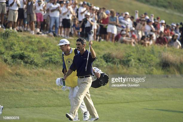 US Open Corey Pavin victorious walking up fairway with caddie on No 18 during Sunday play at Shinnecock Hills Southampton NY 6/18/1995 CREDIT...