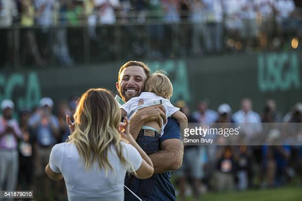US Open Dustin Johnson victorious with son Tatum and wife Paulina Gretzky during presentation ceremony after winning tournament on Sunday at Oakmont...