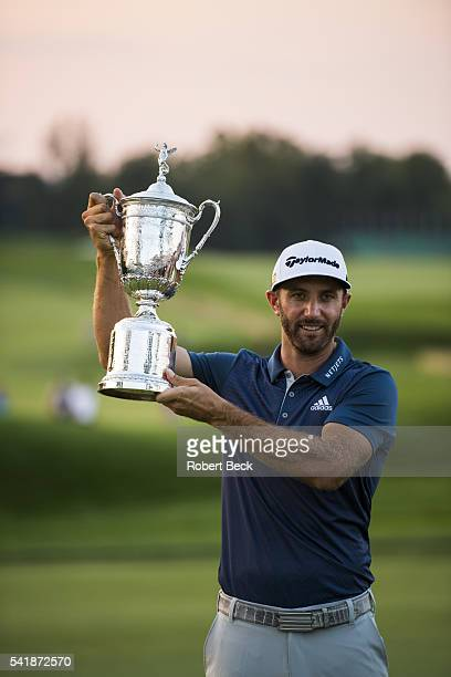 US Open Dustin Johnson victorious with trophy during presentation ceremony after winning tournament on Sunday at Oakmont CC Oakmont PA CREDIT Robert...