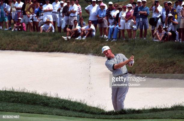 US Open Ernie Els in action chipping from sand trap at Oakmont CC Oakmont PA CREDIT Jacqueline Duvoisin