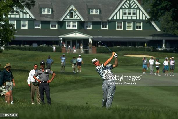 Golf: US Open, Ernie Els in action, drive from rough during three way playoff on Monday at Oakmont CC, View of clubhouse, Oakmont, PA 6/20/1994