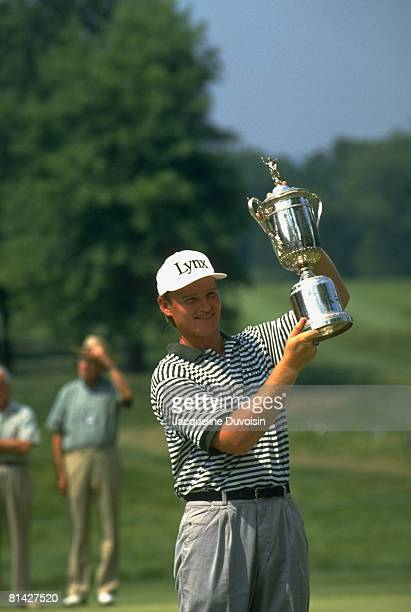 Golf US Open Ernie Els victorious with trophy after winning three way playoff and tournament on Monday at Oakmont CC Oakmont PA 6/20/1994
