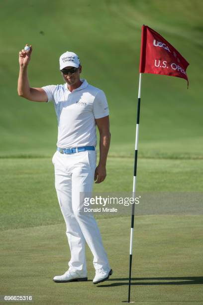US Open Henrik Stenson victorious after sinking putt for eagle on No 11 green during Thursday play at Erin Hills GC Hartford WI CREDIT Donald Miralle