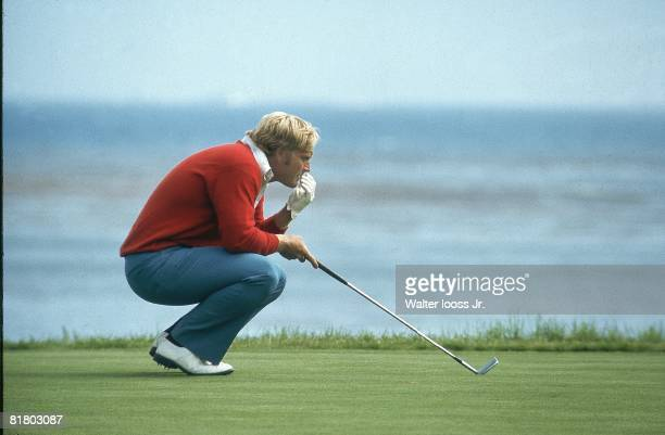 Golf US Open Jack Nicklaus lining up putt during Saturday play at Pebble Beach Golf Links Pebble Beach CA 6/17/1972