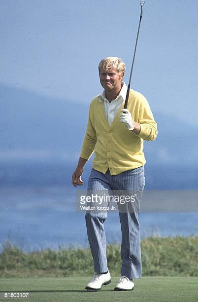 Golf US Open Jack Nicklaus reacting to putt during Sunday play Pebble Beach CA 6/18/1972