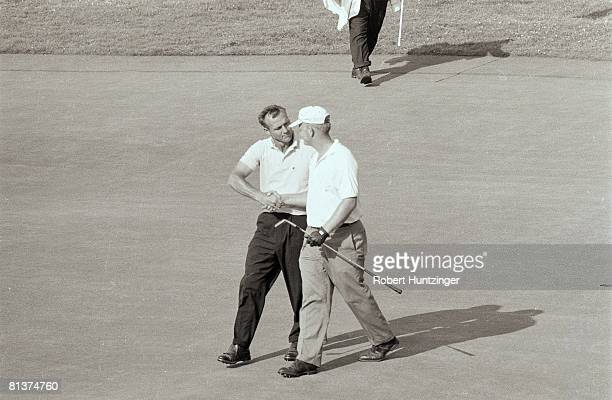 Golf: US Open, Jack Nicklaus victorious after winning during Sunday playoff vs Arnold Palmer , Oakmont, PA 6/17/1962