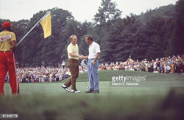 Golf US Open Jack Nicklaus victorious with Arnold Palmer after setting 275 stroke record during Sunday play at Baltusrol GC Springfield NJ 6/18/1967