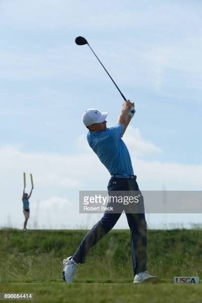US Open Jordan Spieth in action drive during Thursday play at Erin Hills GC Hartford WI CREDIT Robert Beck