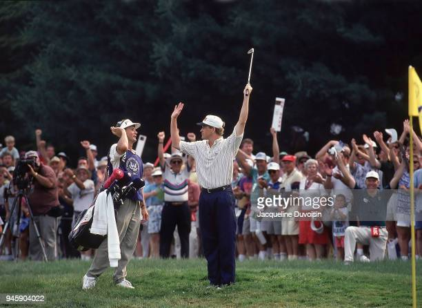 US Open Lee Janzen victorious with caddie after sinking shot for birdie on No 16 hole during Sunday play at Baltusrol GC Springfield NJ CREDIT...