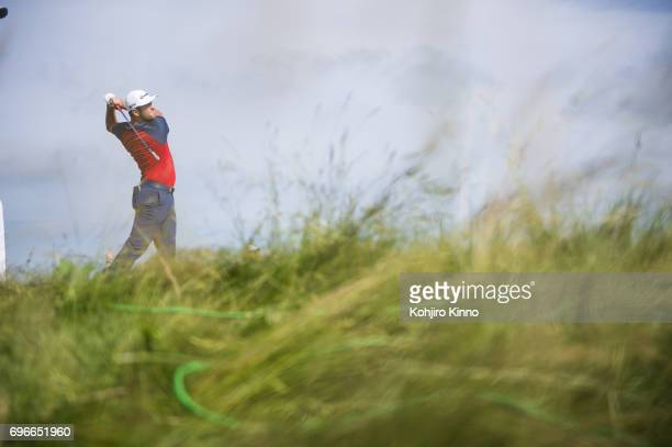 Overall view of Jon Rahm in action, drive on No 13 tee during Thursday play at Erin Hills GC. Hartford, WI 6/15/2017 CREDIT: Kohjiro Kinno