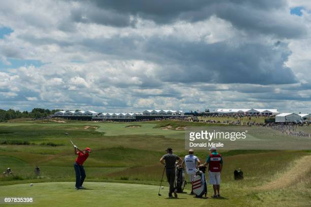 US Open Overall view of Sergio Garcia in action drive on tee No 1 during Sunday play at Erin Hills GC Hartford WI CREDIT Donald Miralle
