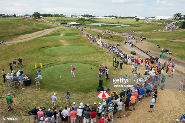 Overall view of Tommy Fleetwood in action, drive on tee No 10 during Saturday play at Erin Hills GC. Hartford, WI 6/17/2017 CREDIT: Donald Miralle