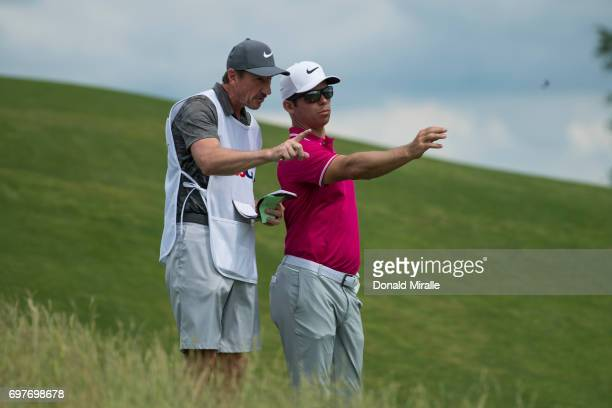 US Open Paul Casey and caddie speaking during Saturday play at Erin Hills GC Hartford WI CREDIT Donald Miralle