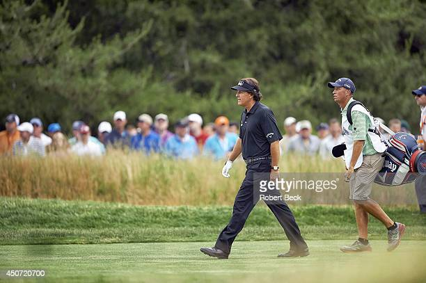 """Phil Mickelson and Jim """"Bones"""" Mackay during Sunday play at East Course of Merion GC. Ardmore, PA 6/16/2013 CREDIT: Robert Beck"""