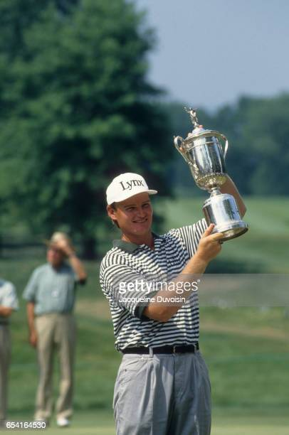 US Open Portrait of Ernie Els victorious holding up US Open Championship trophy after Sunday play at Oakmont CC Pittsburgh PA CREDIT Jacqueline...