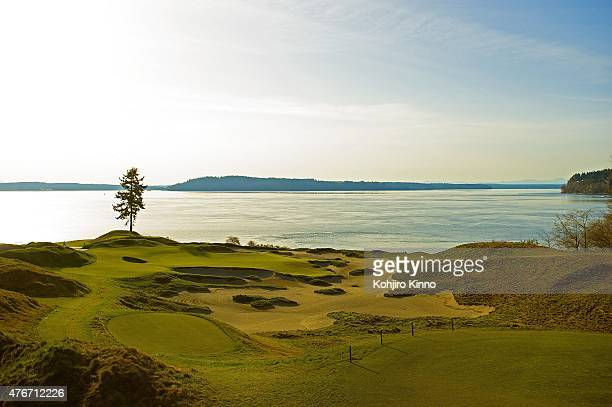 US Open Preview Scenic view of fir tree on par3 No 15 green with Puget Sound and Fox Island in background at Chambers Bay GC The Lone Fir hole...