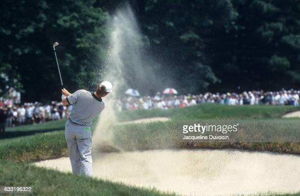 US Open Rear view of Ernie Els in action chipping from sand trap during Sunday play at Oakmont CC Pittsburgh PA CREDIT Jacqueline Duvoisin