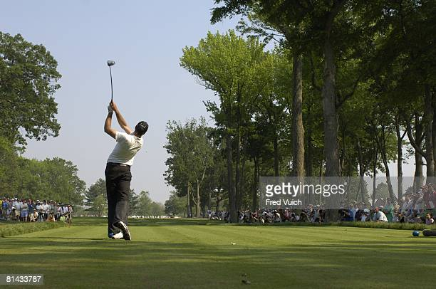Golf: US Open, Rear view of Geoff Ogilvy in action, drive from tee on Sunday at Winged Foot GC, Mamaroneck, NY 6/18/2006