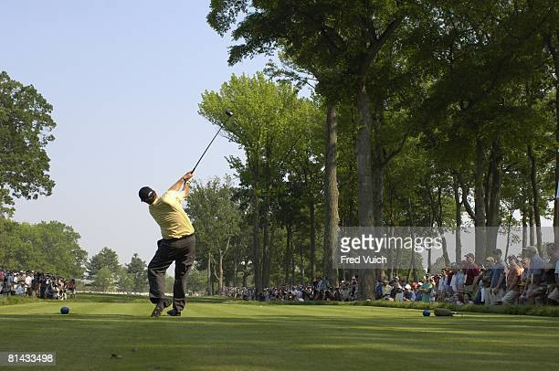 Golf US Open Rear view of Phil Mickelson in action drive from tee on Sunday at Winged Foot GC Mamaroneck NY 6/18/2006