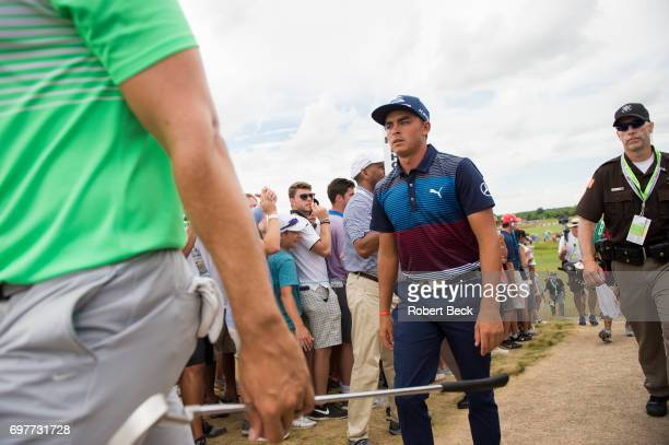 US Open Rickie Fowler greets spectators during Saturday play at Erin Hills GC Hartford WI CREDIT Robert Beck
