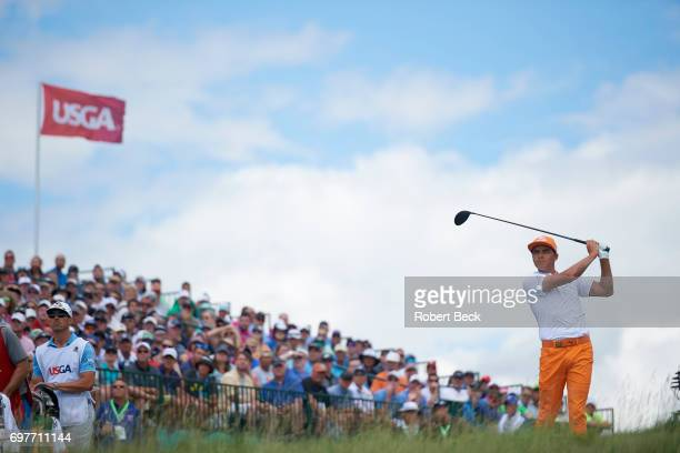 US Open Rickie Fowler in action drive from No 1 tee during Sunday play at Erin Hills GC Hartford WI CREDIT Robert Beck
