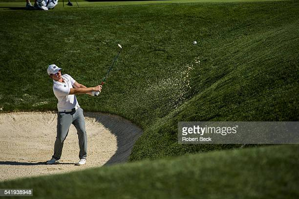 US Open Sam Horsfield in action from bunker on No 17 hole during Saturday play at Oakmont CC Oakmont PA CREDIT Robert Beck