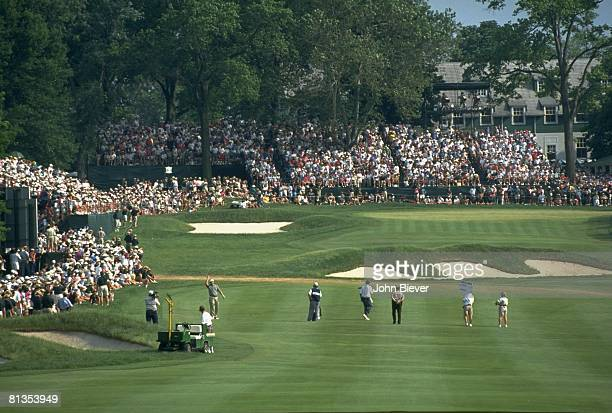 Golf US Open Scenic view of fairway and stands during Sunday play at Oakmont CC Oakmont PA 6/19/1994