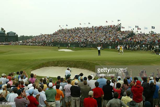 Golf US Open Scenic view of Michael Campbell victorious winning tournament during Sunday play at Pinehurst No View of grandstand Pinehurst NC...