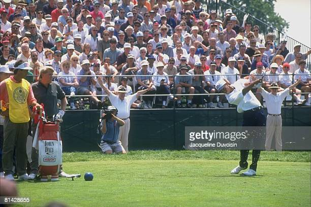 Golf US Open Tiger Woods in action during drive on Sunday at Oakland Hills CC John Daly watches Bloomfield Hills MI 6/13/1996