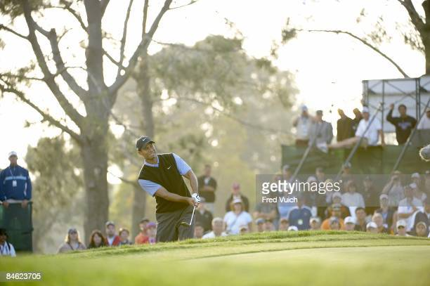 US Open Tiger Woods in action pitching for birdie on No 17 during Saturday play at Torrey Pines GC La Jolla CA 6/14/2008 CREDIT Fred Vuich
