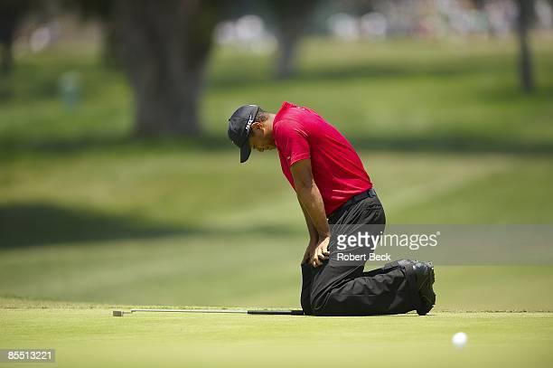 Tiger Woods upset on green during Monday playoff round vs Rocco Mediate at Torrey Pines GC. La Jolla, CA 6/16/2008 CREDIT: Robert Beck