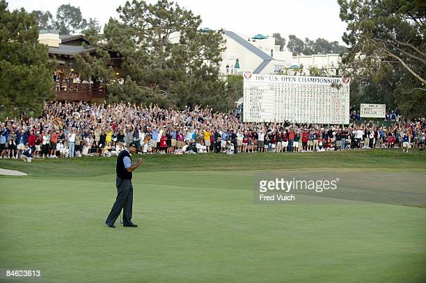 US Open Tiger Woods victorious after putting for eagle on No18 during Saturday play at Torrey Pines GC La Jolla CA 6/14/2008 CREDIT Fred Vuich