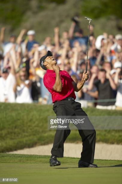 US Open Tiger Woods victorious reacting after making birdie putt on No 18 during Sunday play at Torrey Pines GC La Jolla CA 6/15/2008 CREDIT John...