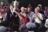 Golf us open tiger woods victorious with trophy at bethpage black ny picture id81374503?s=170x170