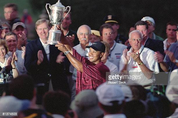 Golf US Open Tiger Woods victorious with trophy at Bethpage Black Farmingdale NY 6/16/2002