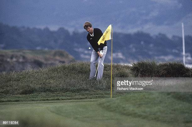US Open Tom Watson in action making chip in from rough on No 17 during Sunday play at Pebble Beach Golf Links Pebble Beach CA 6/18/1982 CREDIT...