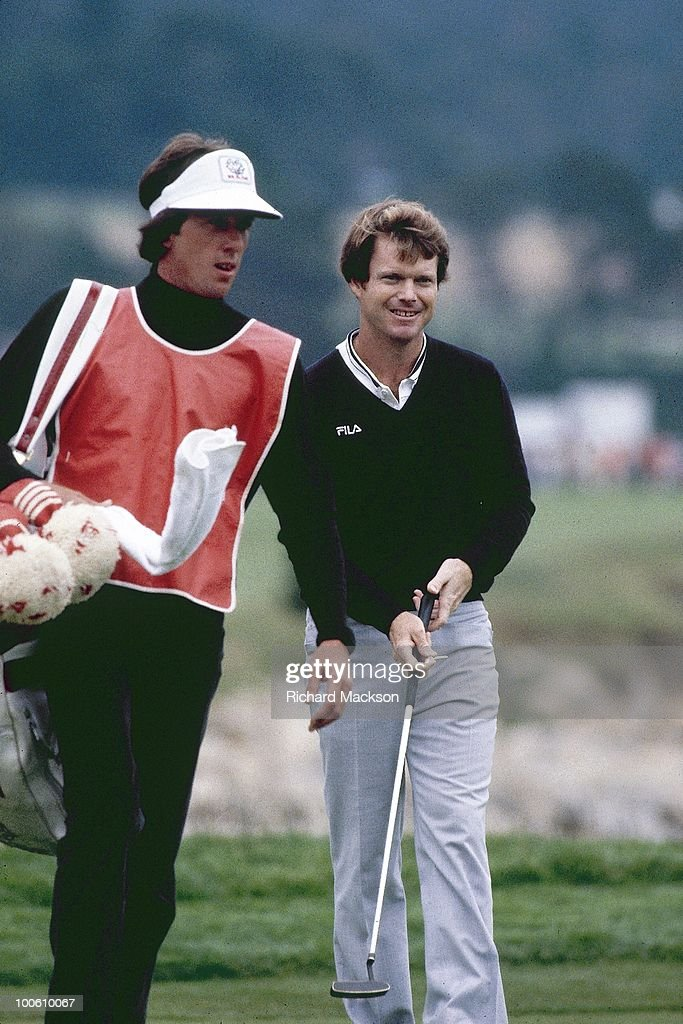 Tom Watson with caddie Bruce Edwards during Sunday play at Pebble Beach Golf Links. Pebble Beach, CA 6/18/1982