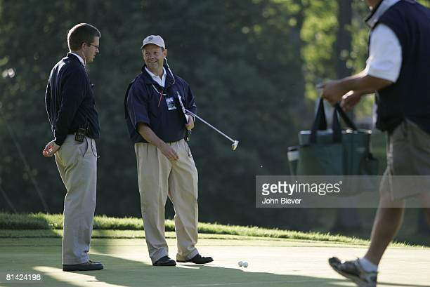 Golf: US Open, USGA senior director of rules and competition Mike Davis inspecting course before Friday play at Winged Foot GC, Mamaroneck, NY...