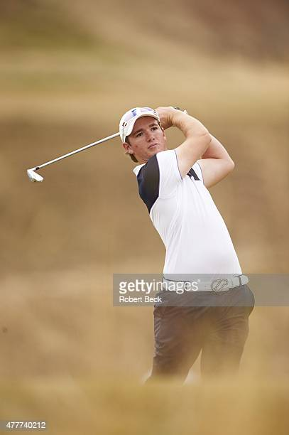 US Open View of amateur player Sam Horsfield in action drive from No 10 tee during Thursday play at Chambers Bay GC University Place WA CREDIT Robert...