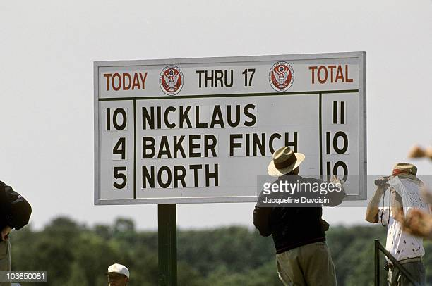 View of leaderboard with group scores of Jack Nicklaus, Ian Baker Finch and Andy North during Friday play at Shinnecock Hills. Southampton, NY...