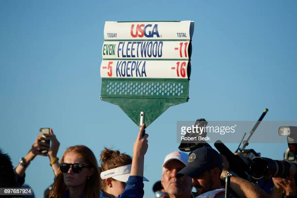 View of standard bearer for Brooks Koepka and Tommy Fleetwood during Sunday play at Erin Hills GC. Hartford, WI 6/18/2017 CREDIT: Robert Beck