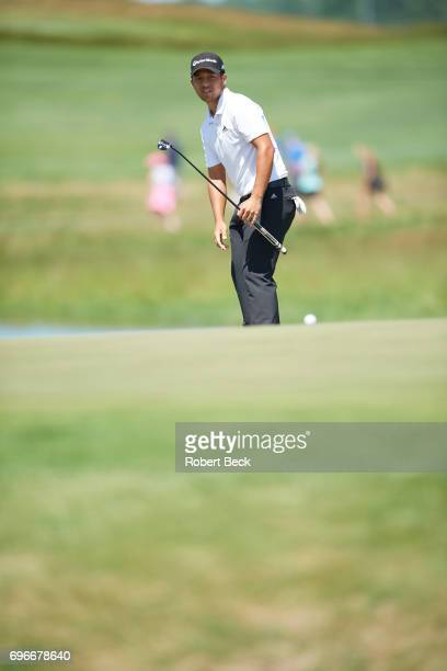 Xander Schauffele watches his putt during Friday play at Erin Hills GC. Hartford, WI 6/16/2017 CREDIT: Kohjiro Kinno