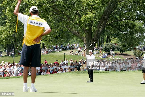 Golf: US Senior Open, Craig Stadler reacting to putt during Friday play at NCR Club, Kettering, OH 7/29/2005