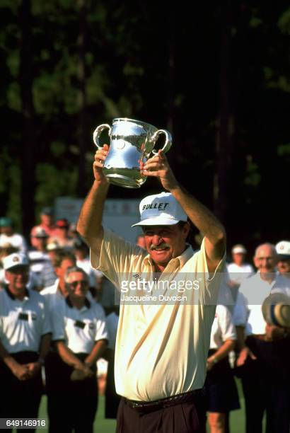 US Senior Open Simon Hobday holding trophy overhead after winning at Pinehurst Resort Pinehurst NC CREDIT Jacqueline Duvoisin